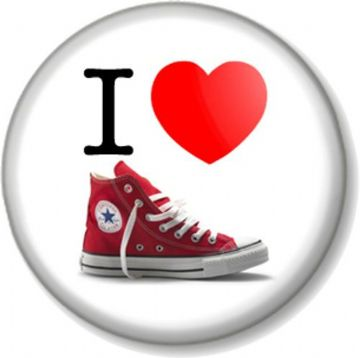 I Love / Heart CONVERSE Pinback Button Badge Red Baseball Boots Shoes Chuck Taylor